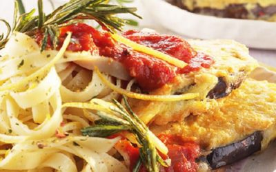 Rezept der Woche: Zitronennudeln in Tomatensauce und Auberginenpiccata