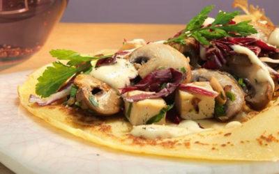 Rezept der Woche: Crespelles mit Radicchio, Tofu und Champignons in Senfsauce