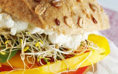 Rezept der Woche: Gemüseburger mit frischem Gemüse, Rucola und Hüttenkäse